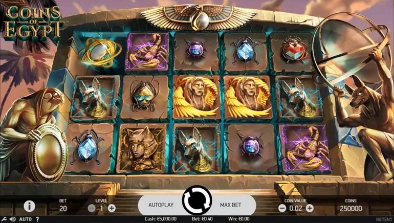طرح لعبة ماكينات سلوتس Coins of Egypt المطورة بواسطة NetEnt